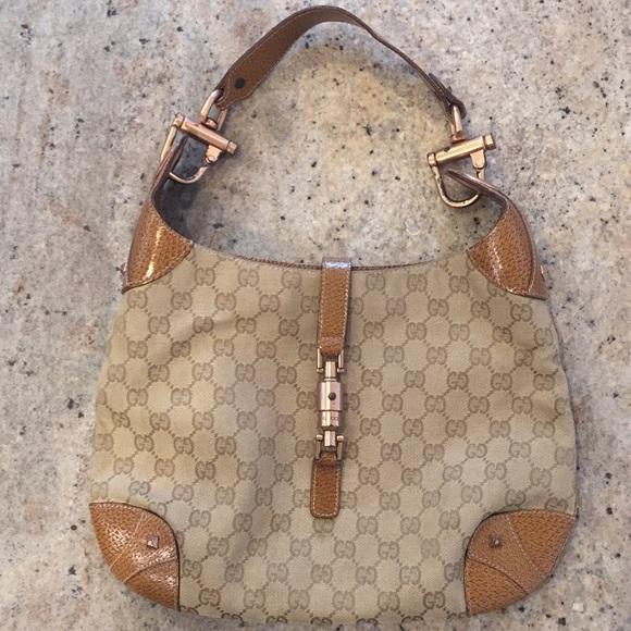 Gucci Handbags - Gucci Monogrammed Canvas Hobo Bag